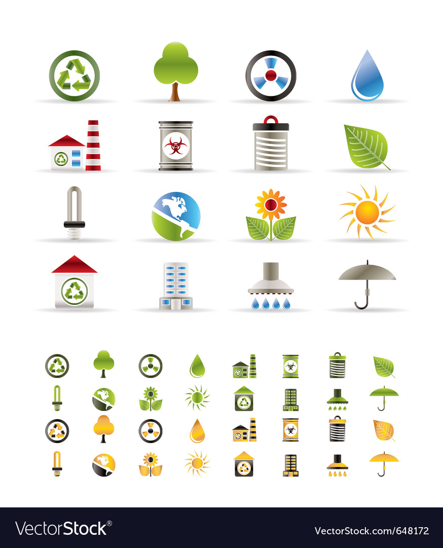 Realistic ecology icons vector | Price: 1 Credit (USD $1)