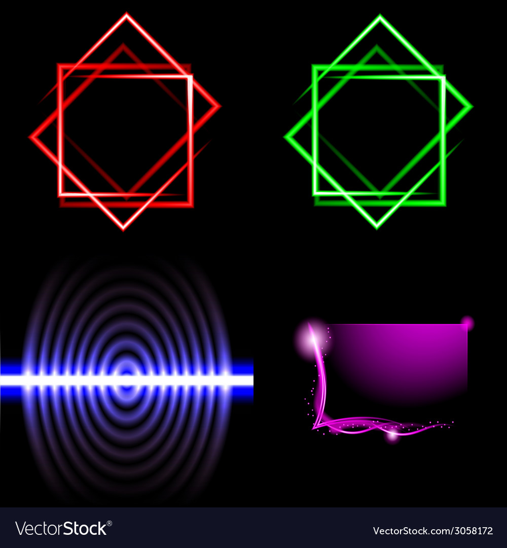 Set of blurry abstract lines light effect sparkle vector | Price: 1 Credit (USD $1)