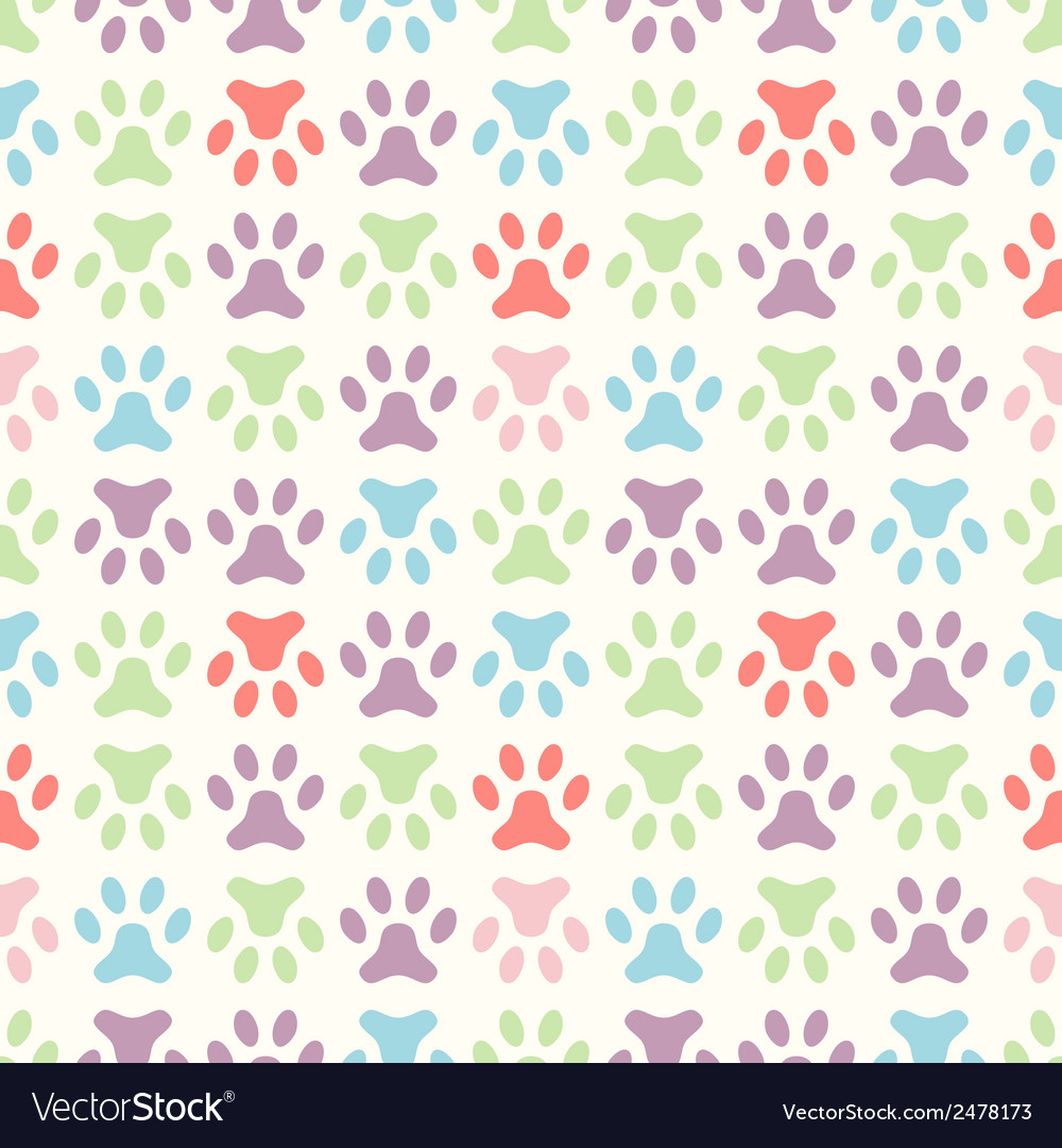 Animal seamless pattern of paw footprint endless vector | Price: 1 Credit (USD $1)