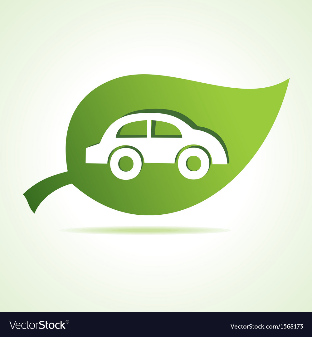Car icon at leaf vector | Price: 1 Credit (USD $1)