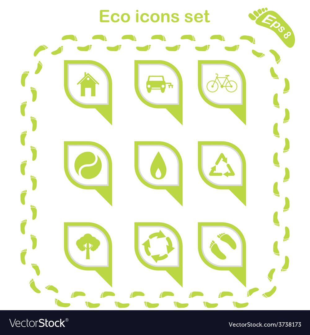Eco icons set vector | Price: 1 Credit (USD $1)