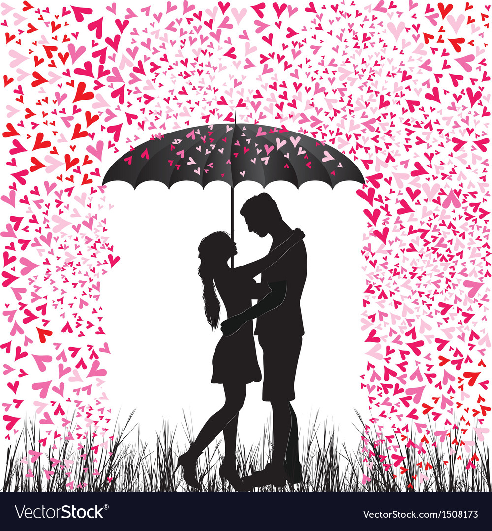 Kissing couple heart rain vector | Price: 1 Credit (USD $1)