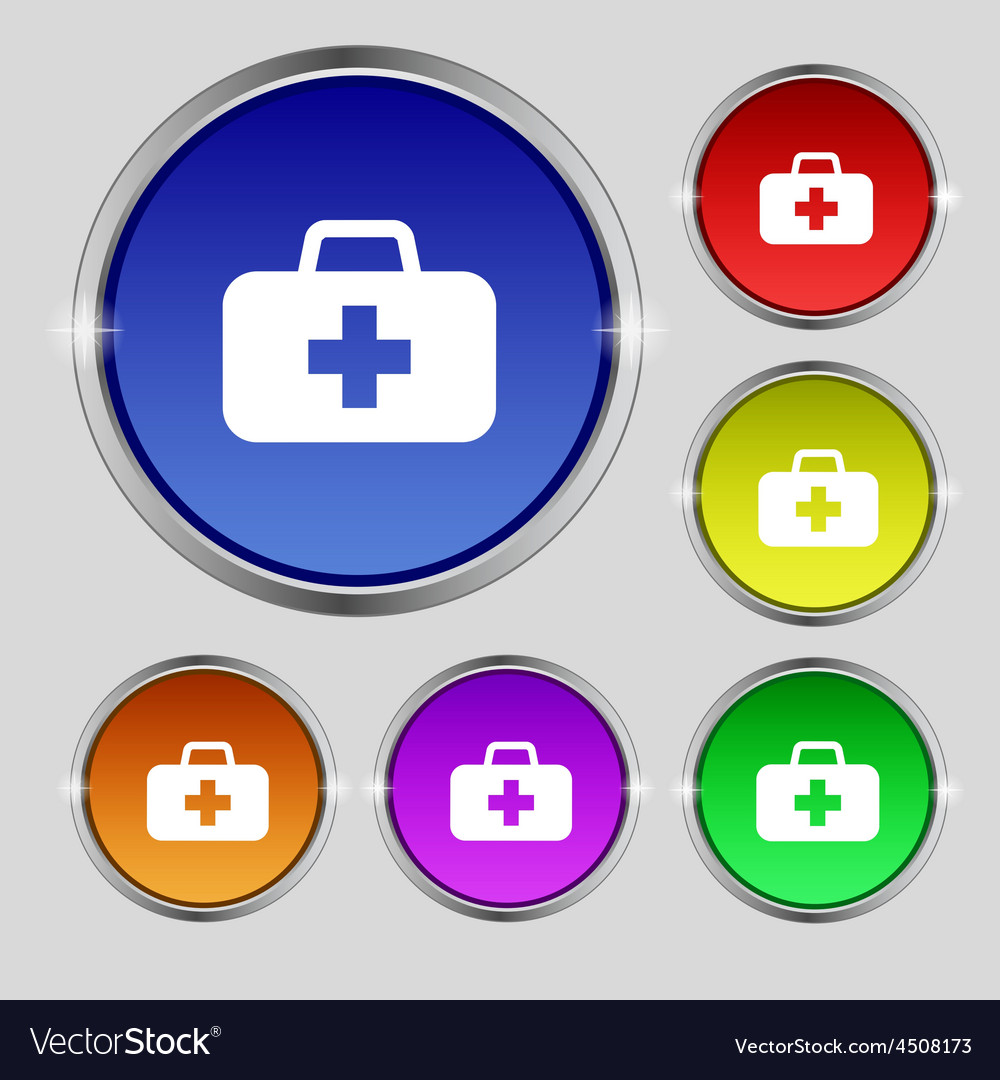 Medicine chest icon sign round symbol on bright vector | Price: 1 Credit (USD $1)