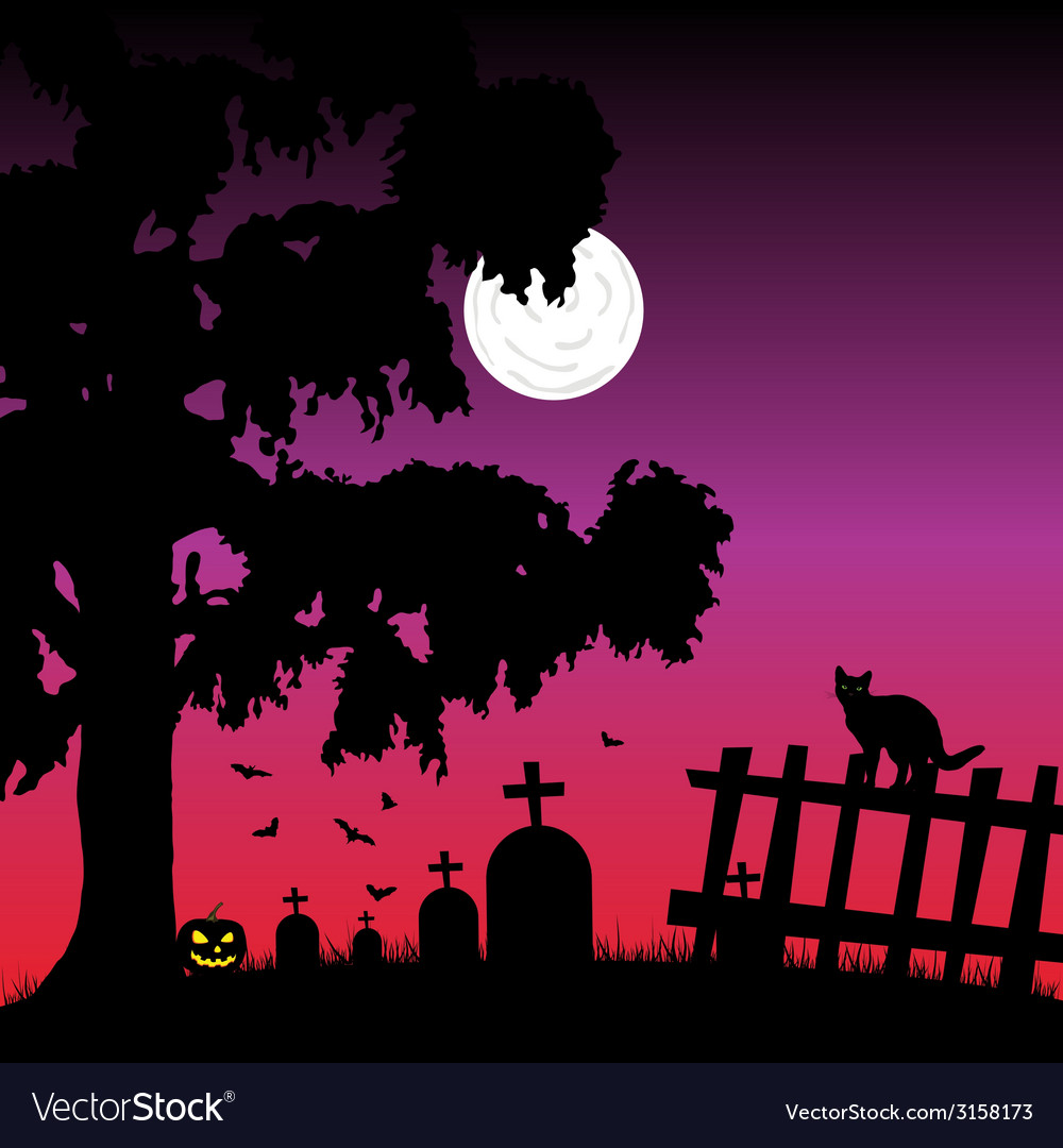 Sweet and beauty cementery with bats vector | Price: 1 Credit (USD $1)