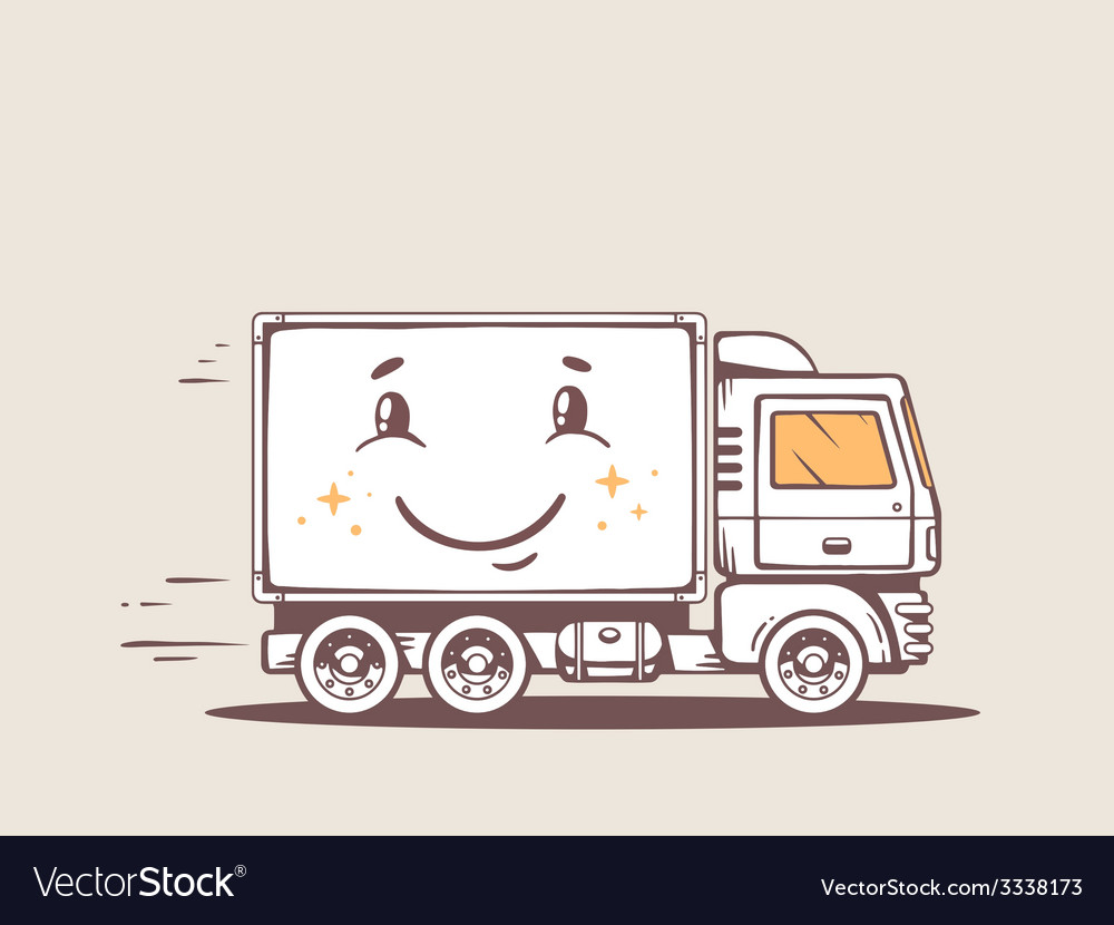 Truck free and fast delivering smile to c vector | Price: 1 Credit (USD $1)