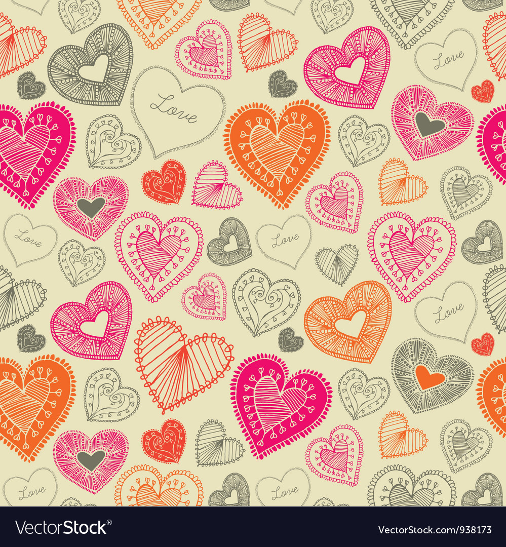 Vintage doodle love pattern vector | Price: 1 Credit (USD $1)