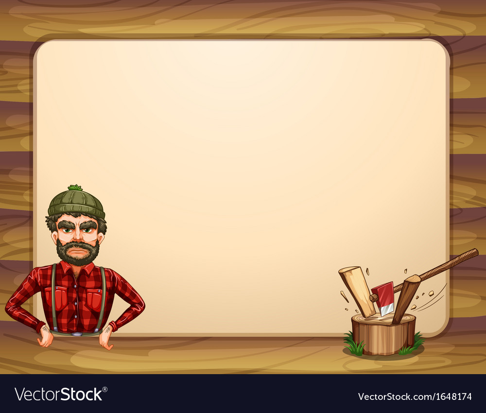 An empty wooden frame template with a lumberjack vector | Price: 1 Credit (USD $1)