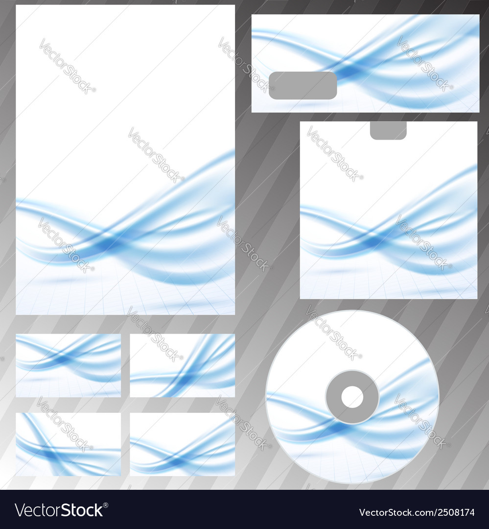 Blue waves lines corporate stationery set vector | Price: 1 Credit (USD $1)
