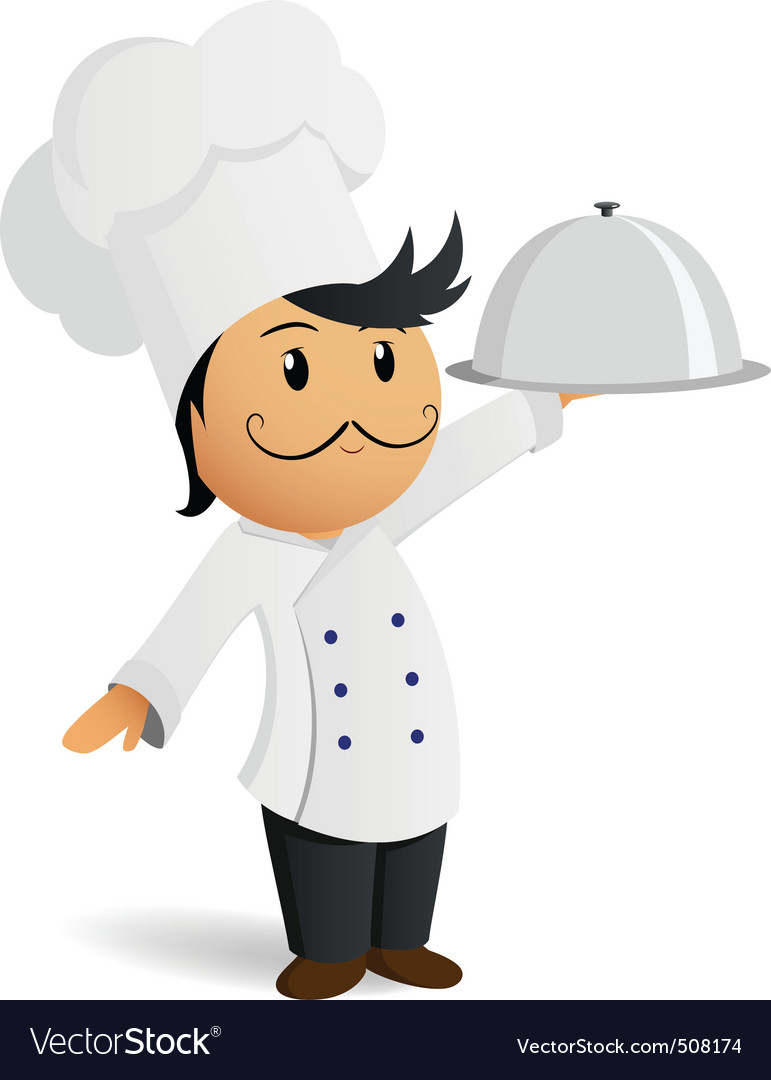 Cartoon chef in white hat with dish vector | Price: 1 Credit (USD $1)