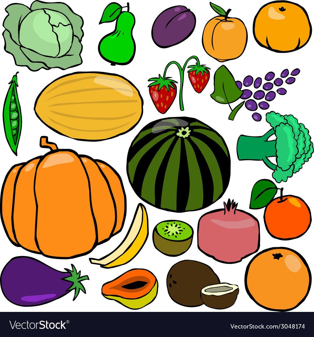 Cartoonish fruits and vegetables vol 1 vector | Price: 1 Credit (USD $1)
