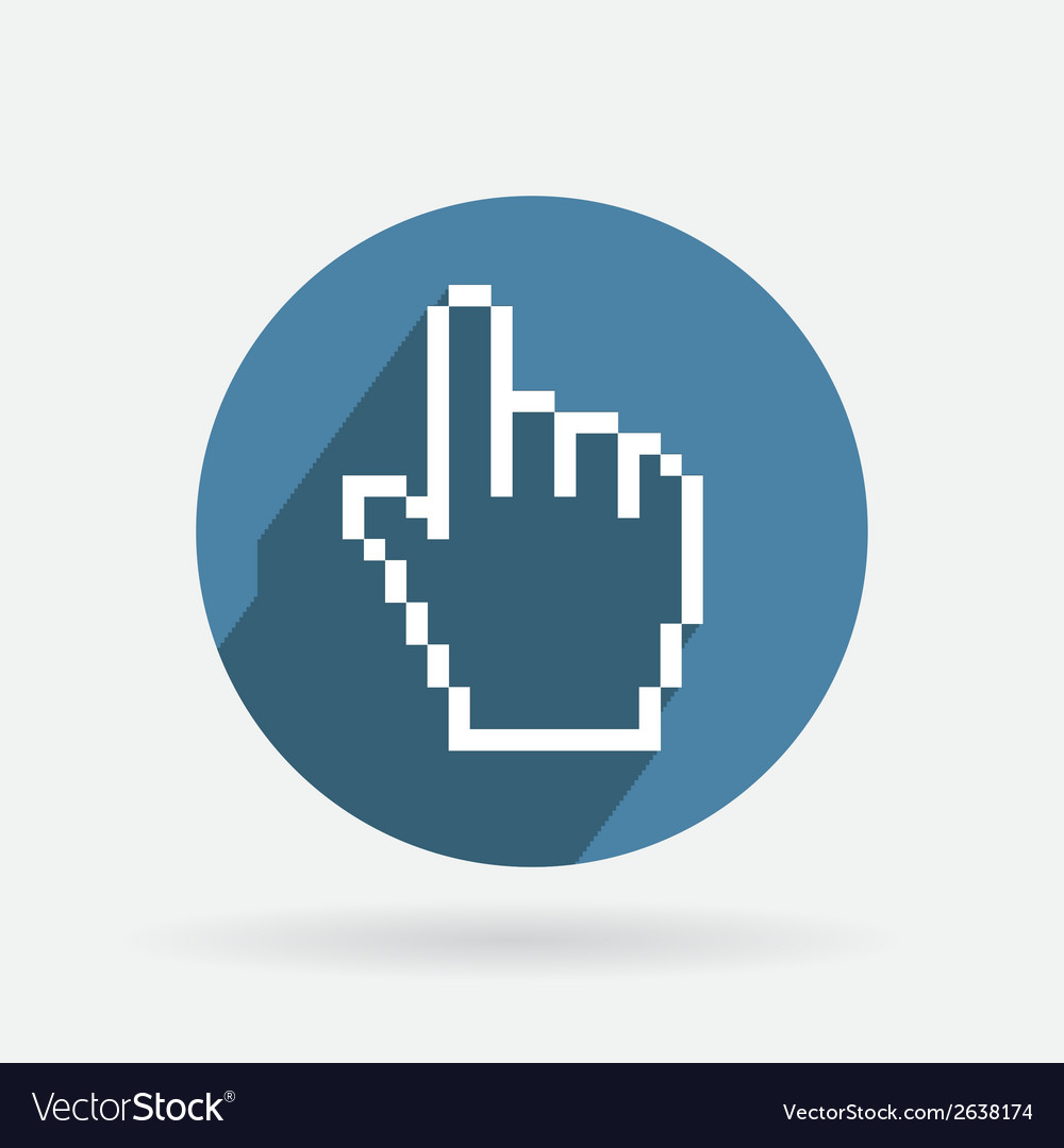 Circle blue icon with shadow mouse hand cursor vector | Price: 1 Credit (USD $1)