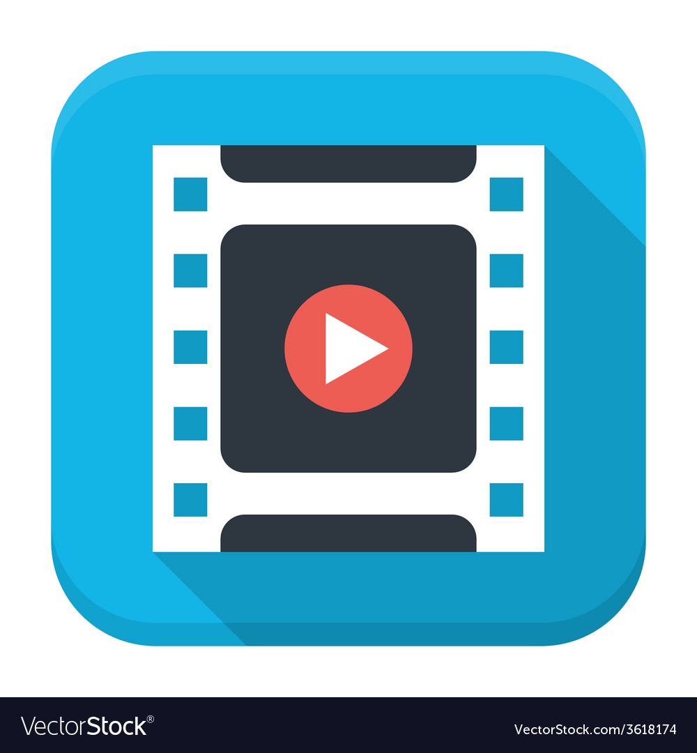 Filmstrip play flat app icon with long shadow vector | Price: 1 Credit (USD $1)