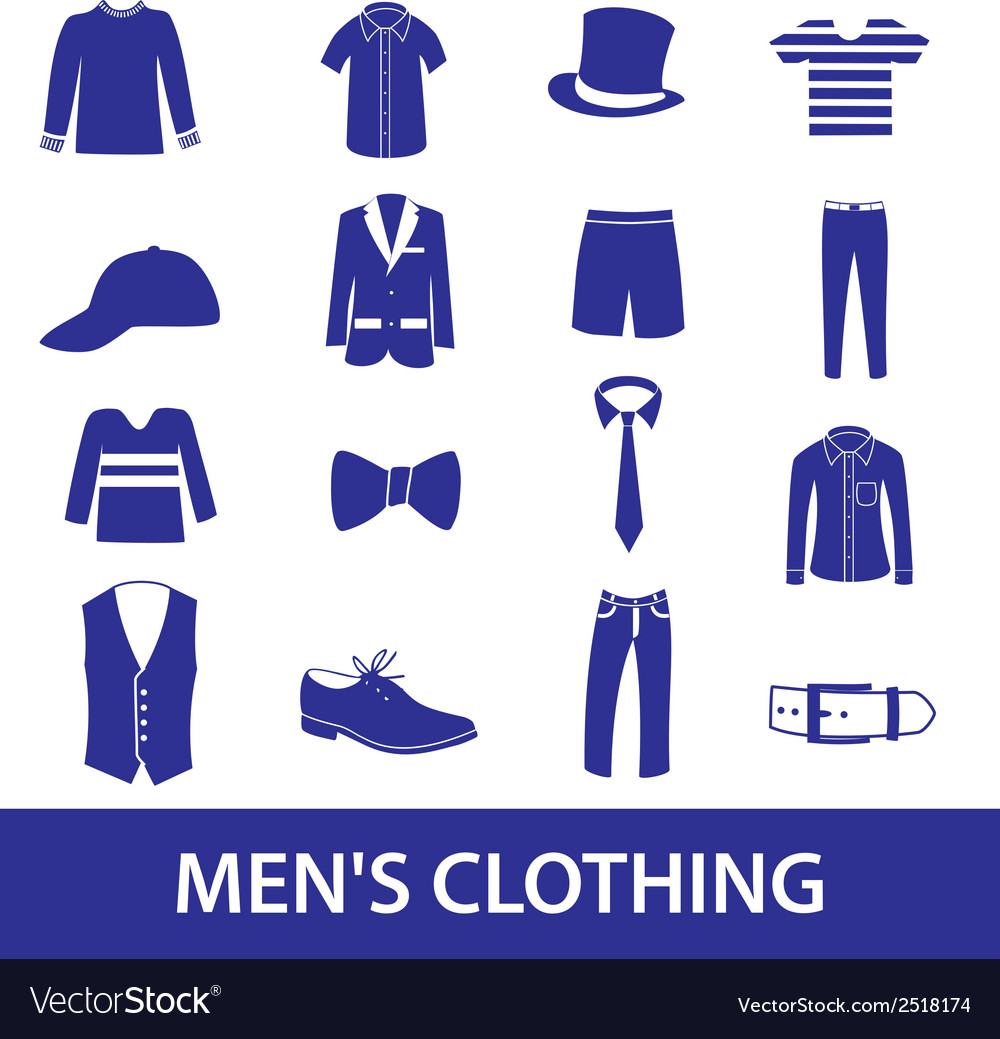 Mens clothing icon set eps10 vector | Price: 1 Credit (USD $1)