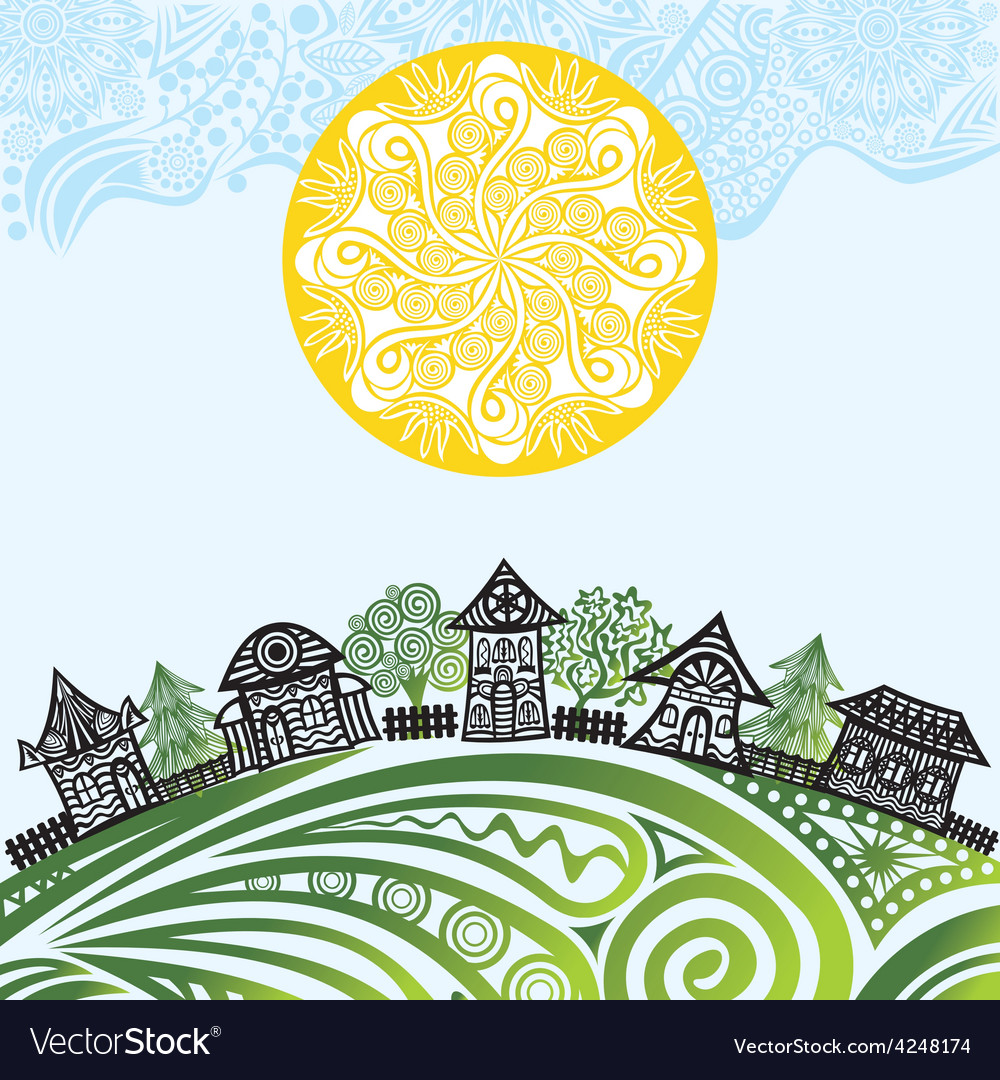 Nature pattern background sun houses vector | Price: 1 Credit (USD $1)