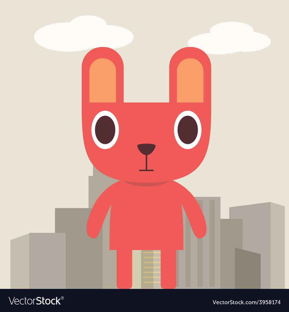 Red bunny cartoon vector | Price: 1 Credit (USD $1)