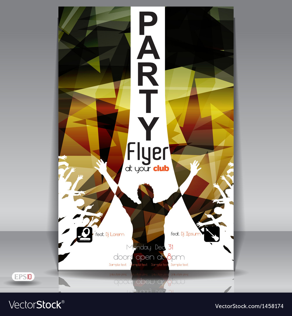 Retro party flyer vector | Price: 1 Credit (USD $1)