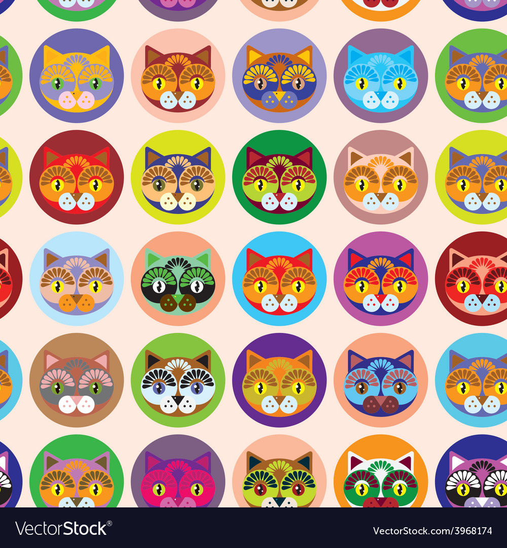 Seamless background with muzzle of cats vector | Price: 1 Credit (USD $1)