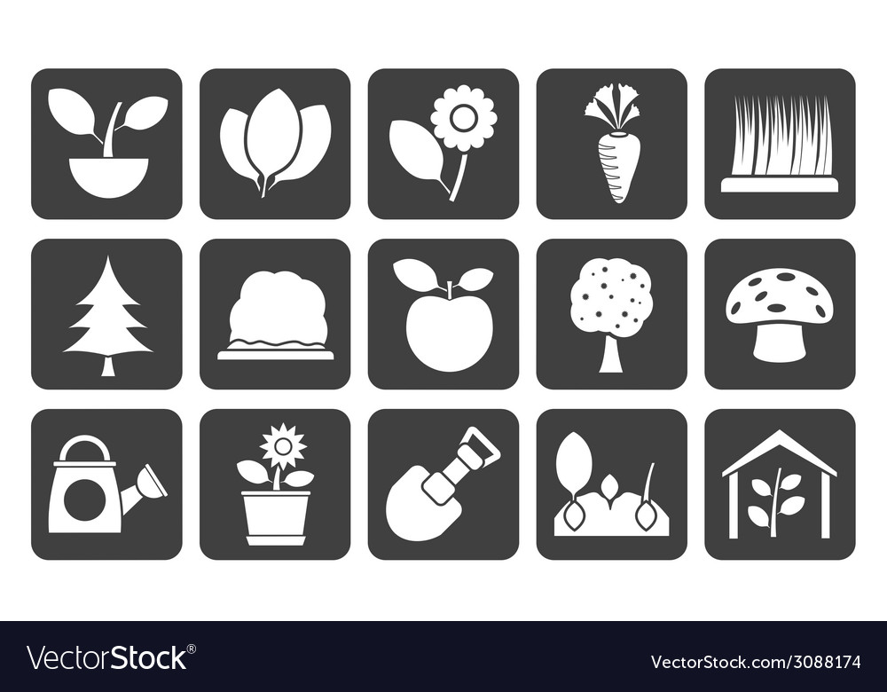 Silhouette different plants and gardening icons vector | Price: 1 Credit (USD $1)