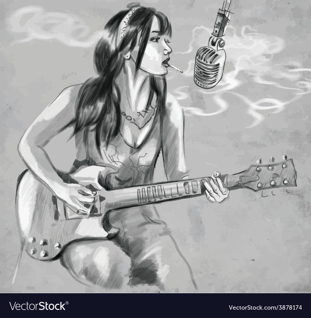 Smoking guitar player an hand drawn vector | Price: 1 Credit (USD $1)