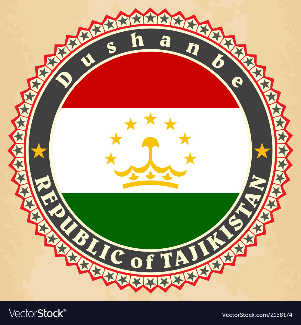 Vintage label cards of tajikistan flag vector | Price: 1 Credit (USD $1)