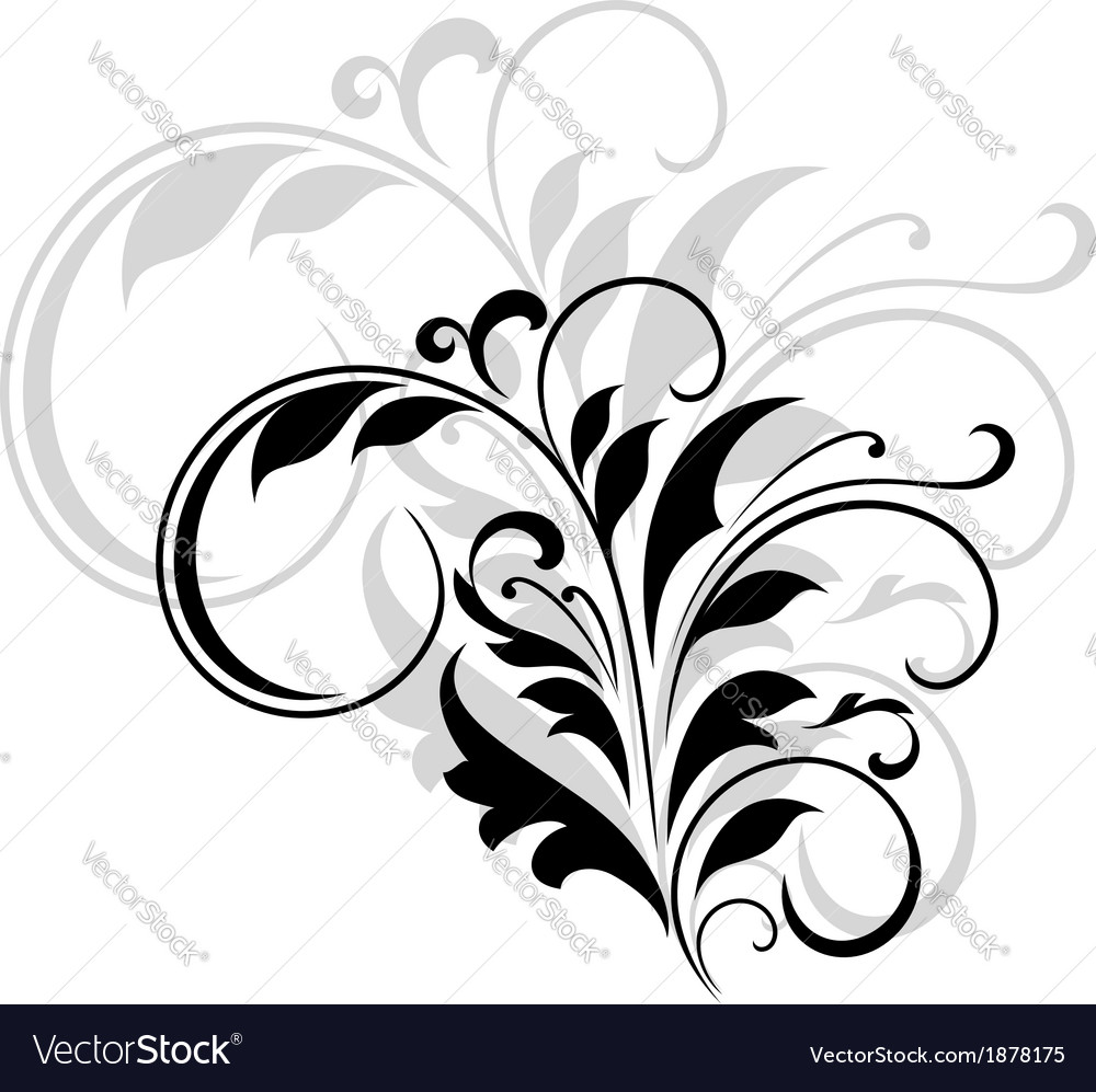 Abstract black floral design element vector | Price: 1 Credit (USD $1)