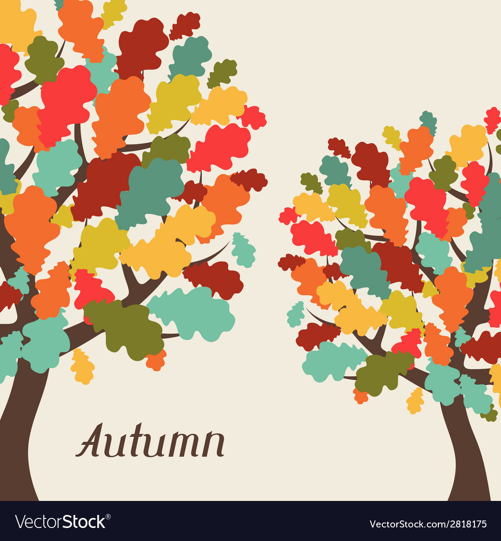 Background of stylized autumn trees for greeting vector | Price: 1 Credit (USD $1)