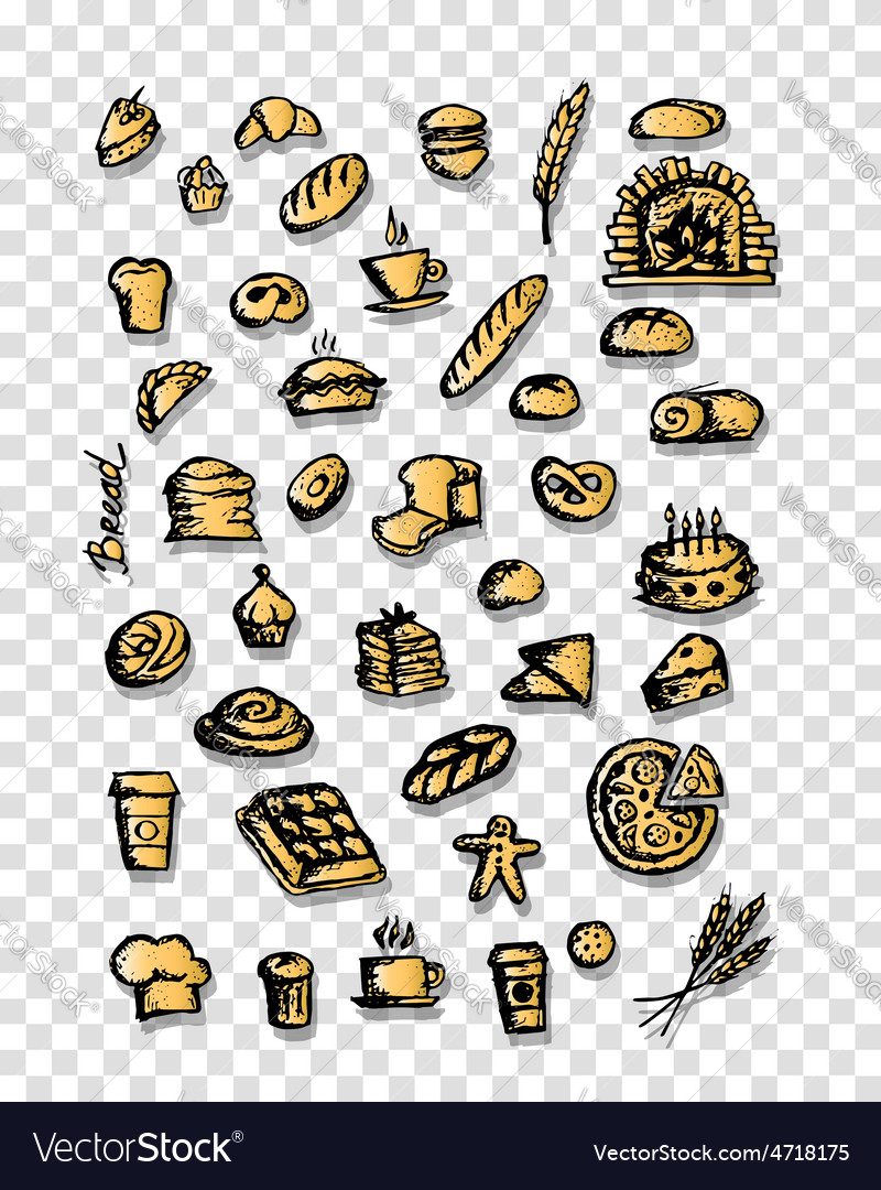 Bakery collection sketch for your design vector | Price: 1 Credit (USD $1)