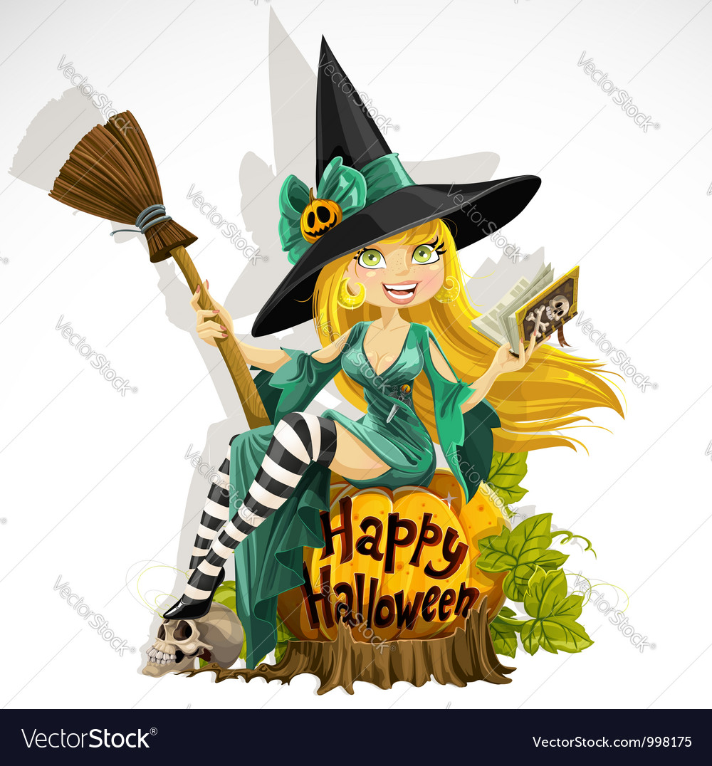 Beautiful young witch with a book and broom vector | Price: 5 Credit (USD $5)