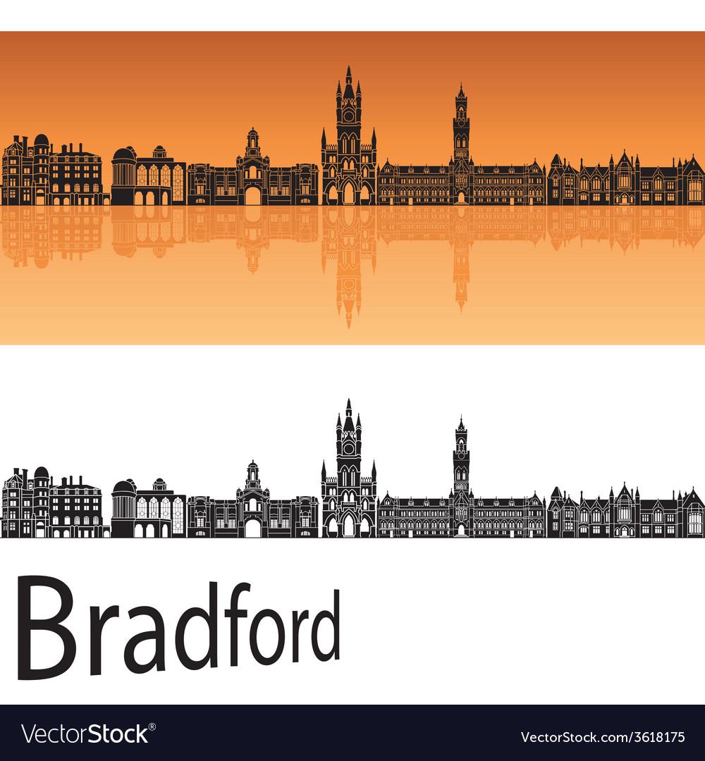 Bradford skyline in orange background vector