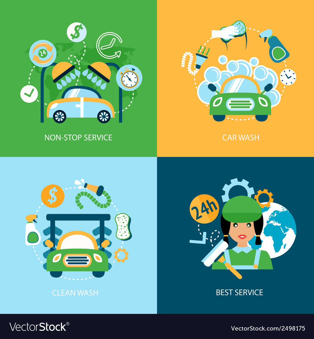 Car wash flat icons vector | Price: 3 Credit (USD $3)