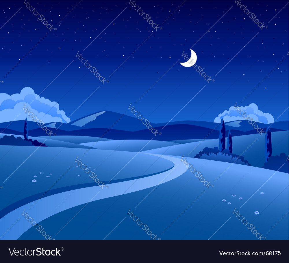 Countryside night vector | Price: 1 Credit (USD $1)