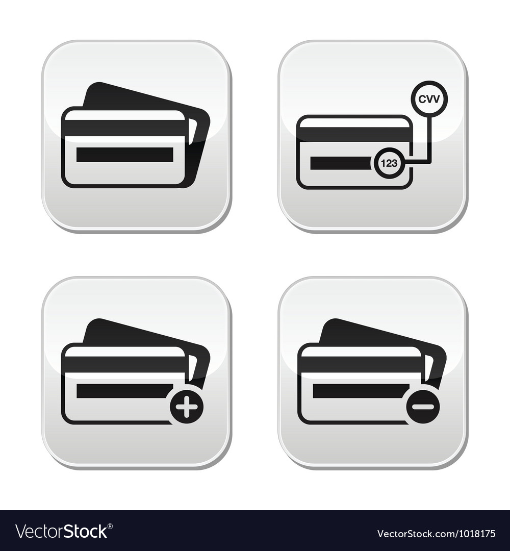 Credit card cvv code buttons set vector | Price: 1 Credit (USD $1)
