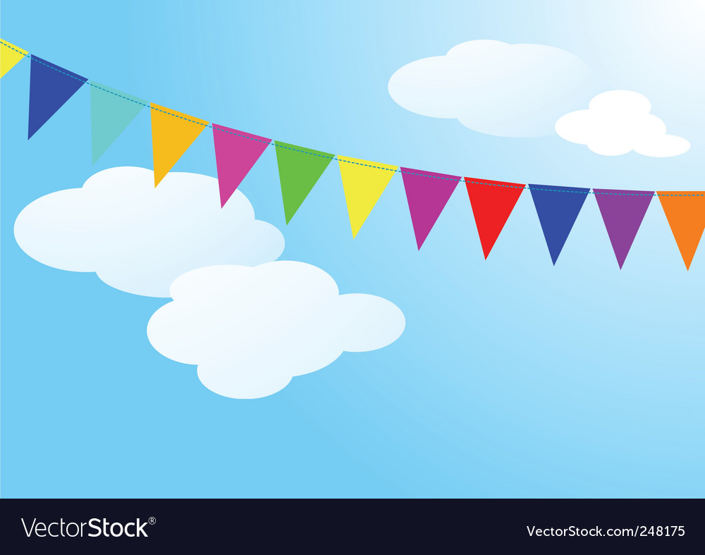 Garland of colored flags vector