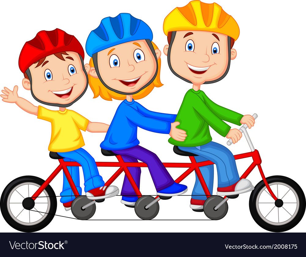 Happy family cartoon riding triple bicycle vector | Price: 1 Credit (USD $1)
