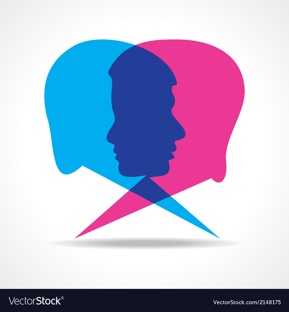 Male and female face make speech bubble vector | Price: 1 Credit (USD $1)