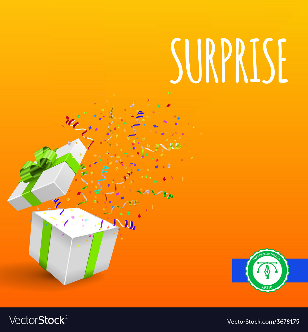 Open giftbox with confetti background vector | Price: 1 Credit (USD $1)