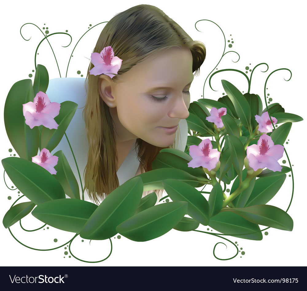 Woman and flowers vector | Price: 5 Credit (USD $5)