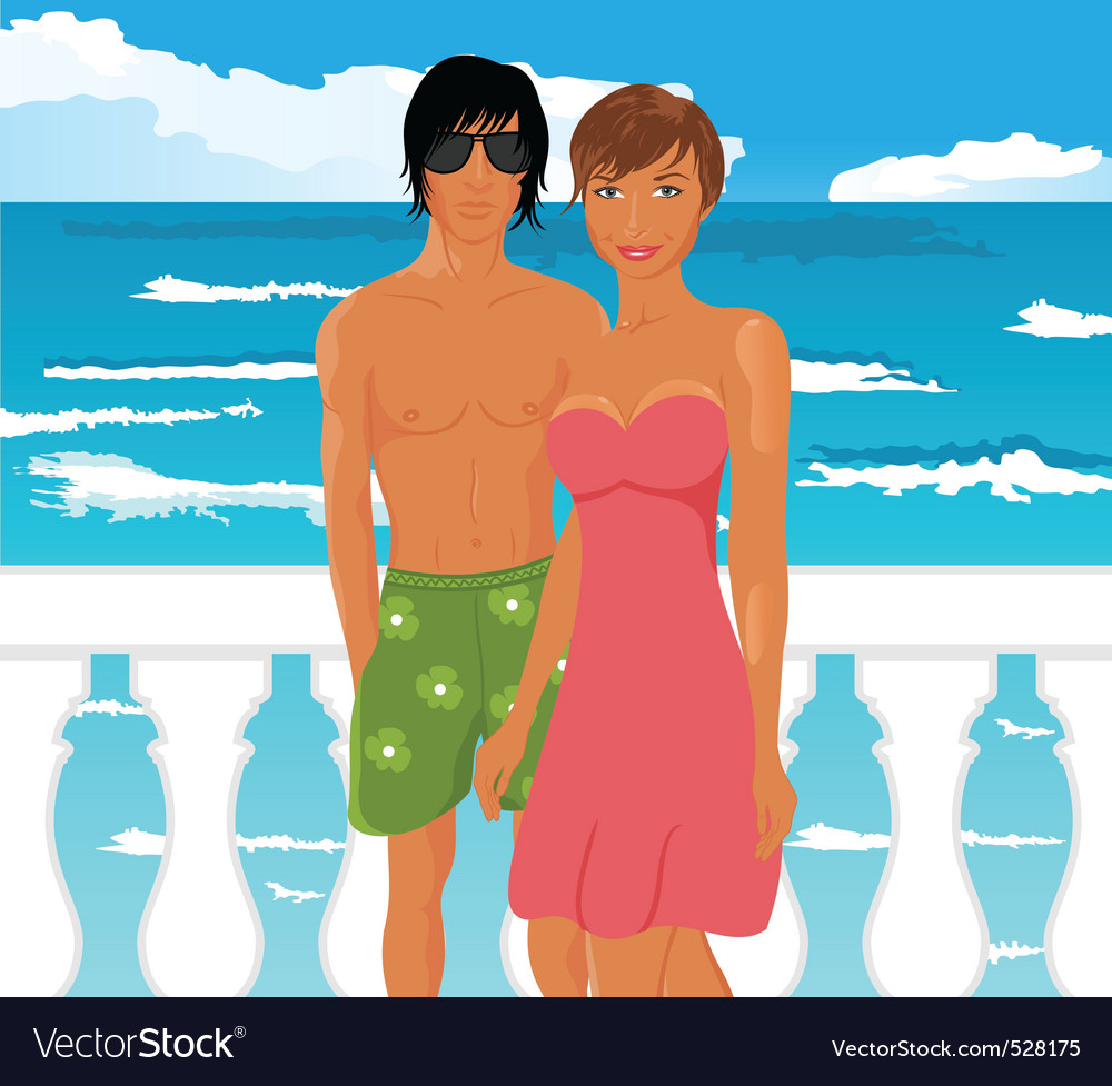 Young couple on quay at the sea vector | Price: 1 Credit (USD $1)