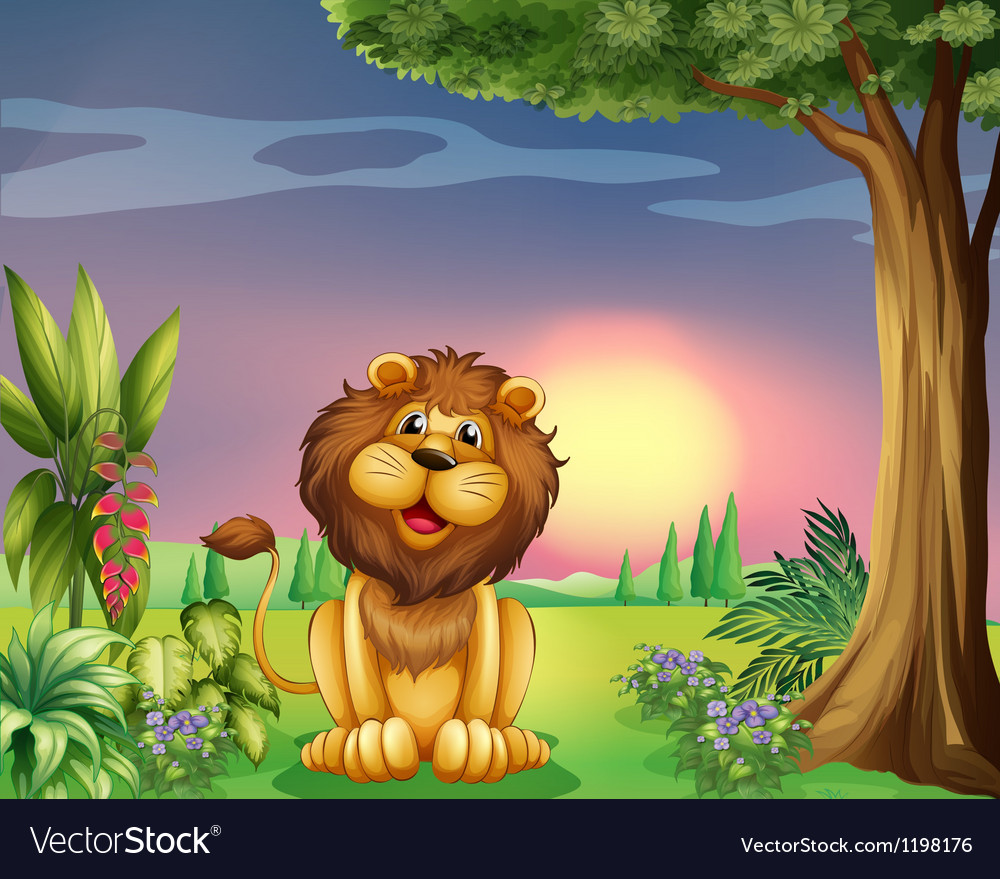A happy face of a lion vector | Price: 1 Credit (USD $1)