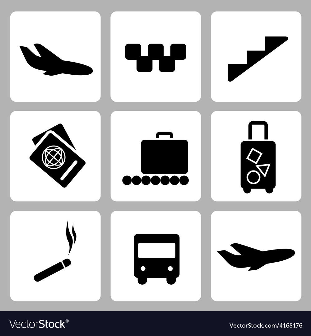 Airport black icon collection vector | Price: 1 Credit (USD $1)