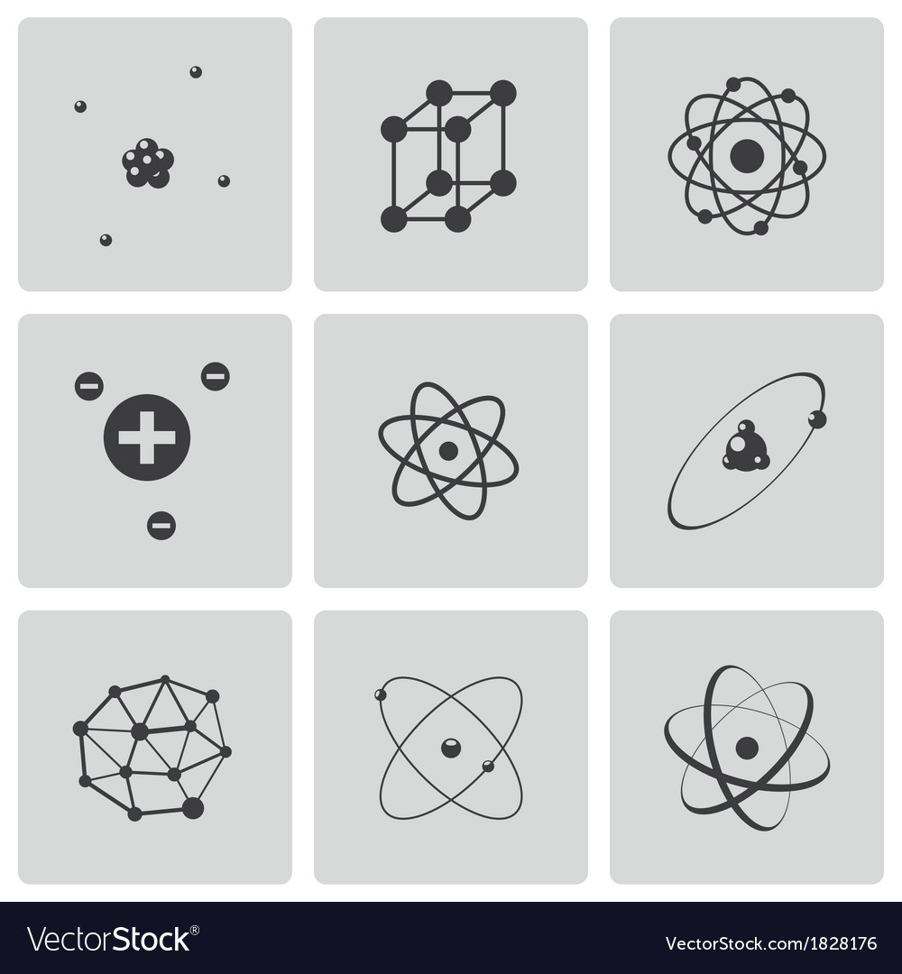 Black atom icons set vector | Price: 1 Credit (USD $1)
