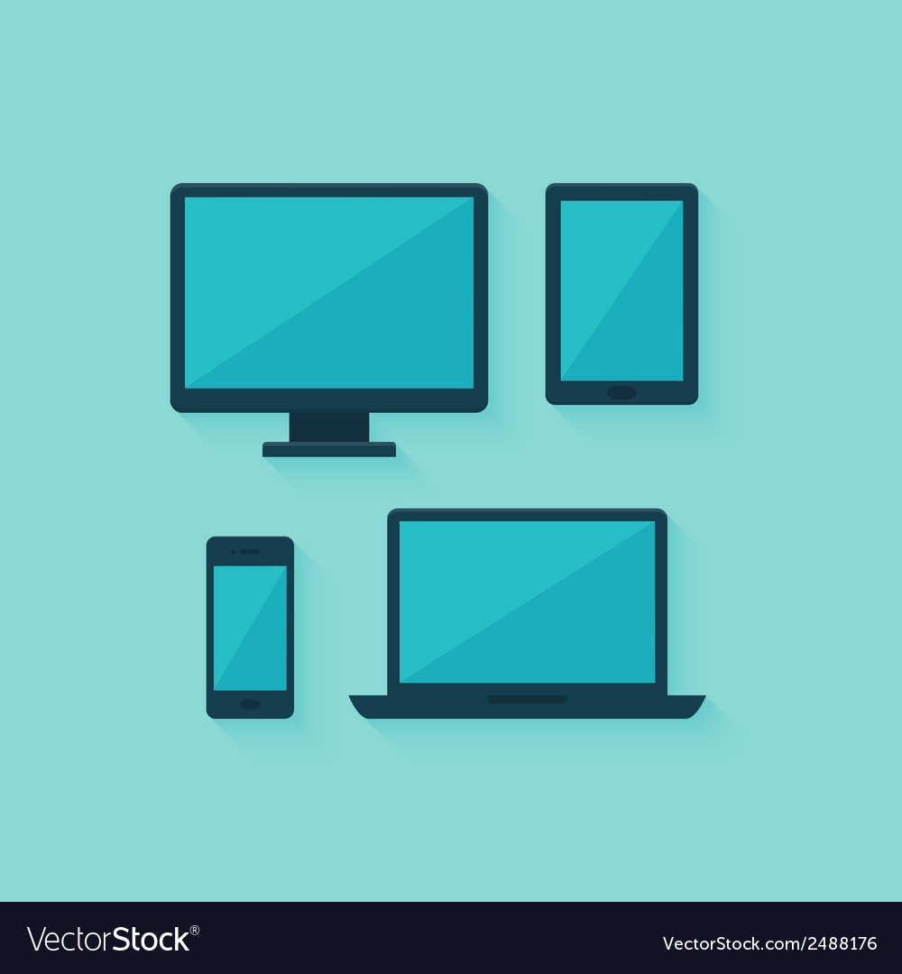 Flat computer and mobile devices set over blue vector | Price: 1 Credit (USD $1)