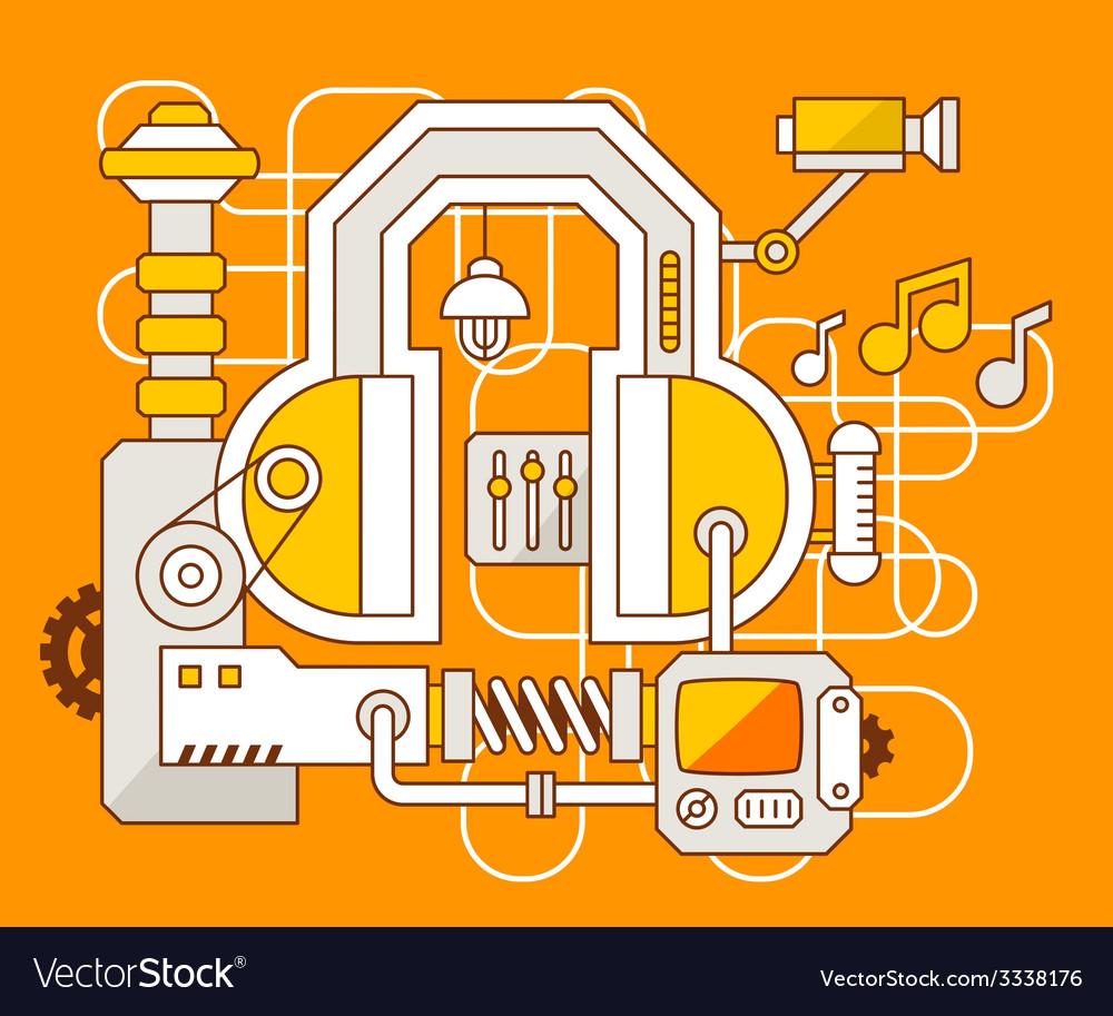 Industrial of the mechanism of headphone vector | Price: 3 Credit (USD $3)