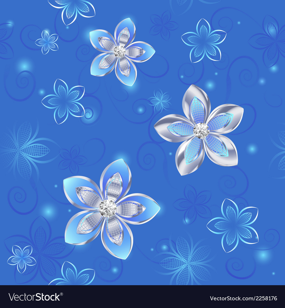 Seamless pattern of silver flowers vector | Price: 1 Credit (USD $1)