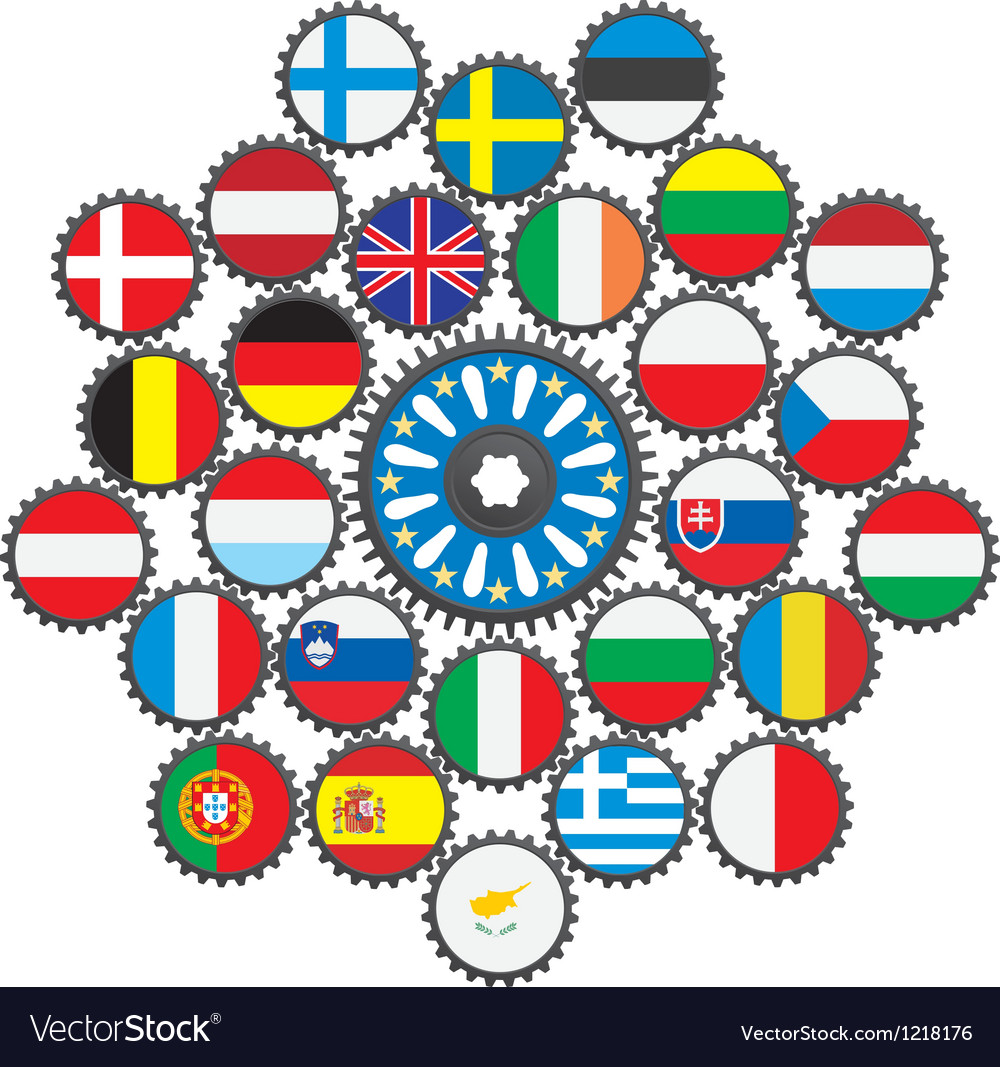 The work of the eu in the form of gears vector | Price: 1 Credit (USD $1)