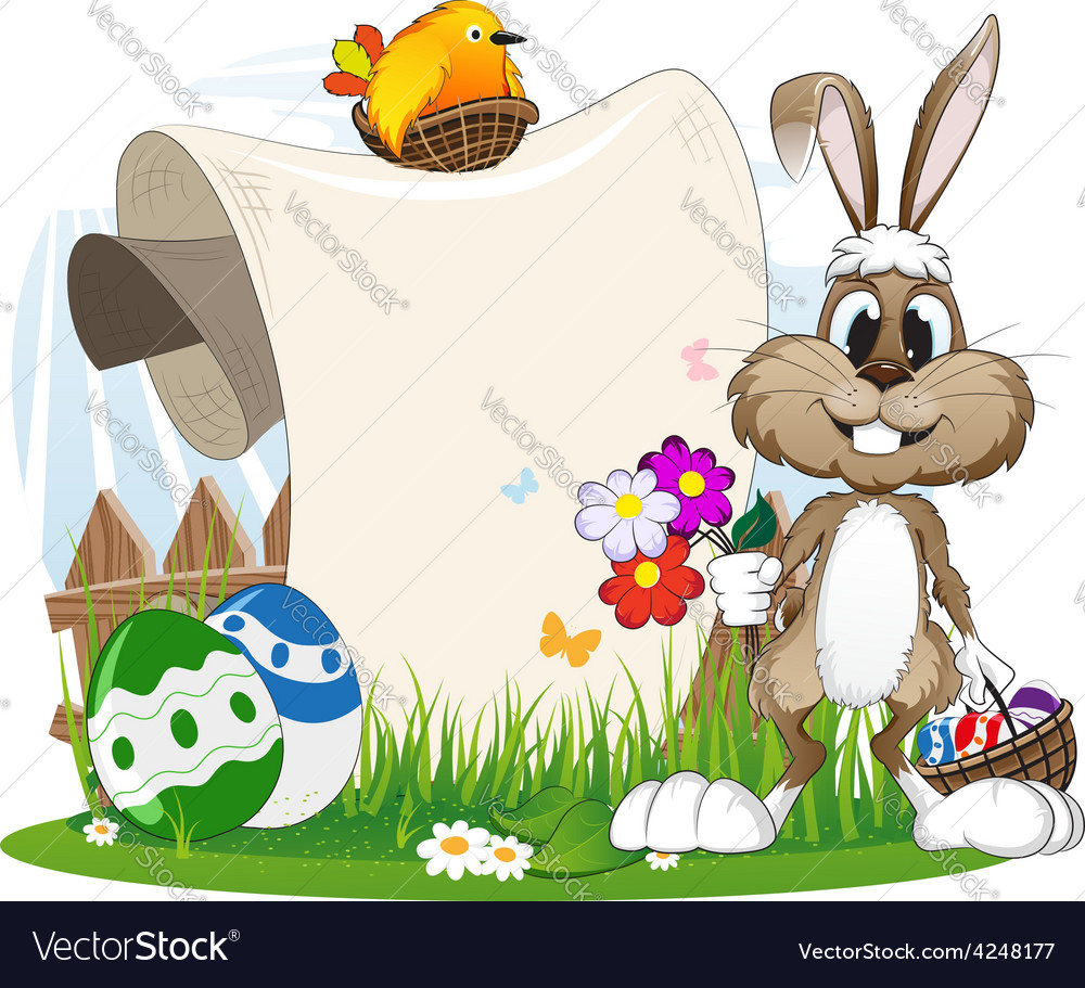 Bunny with flowers and easter eggs vector | Price: 3 Credit (USD $3)