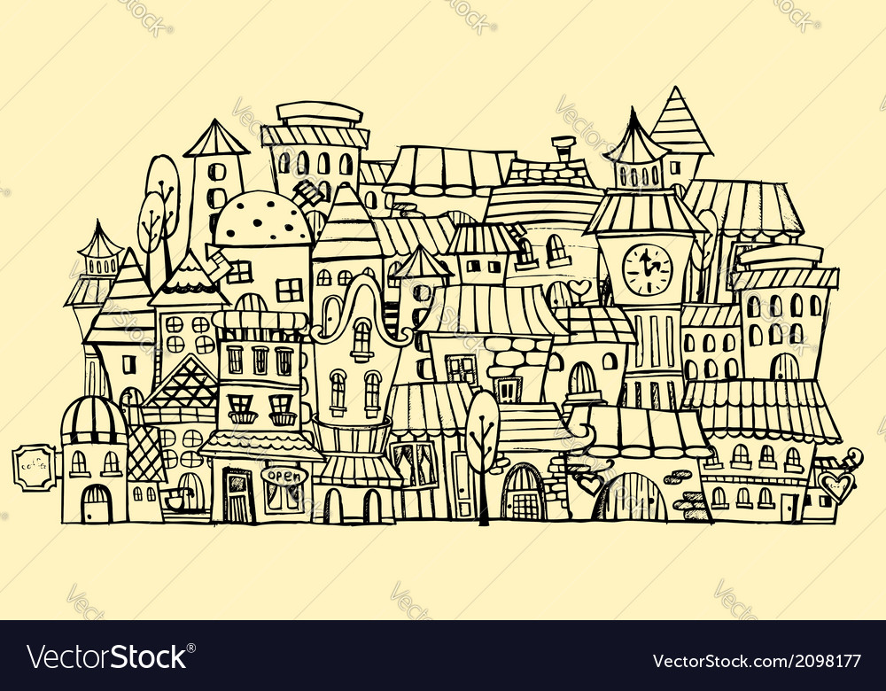 Cartoon contour town vector | Price: 1 Credit (USD $1)