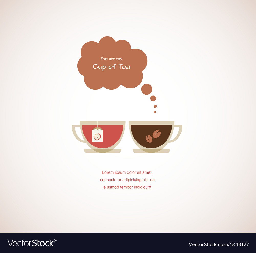 Coffee and tea cups on valentines card vector | Price: 1 Credit (USD $1)