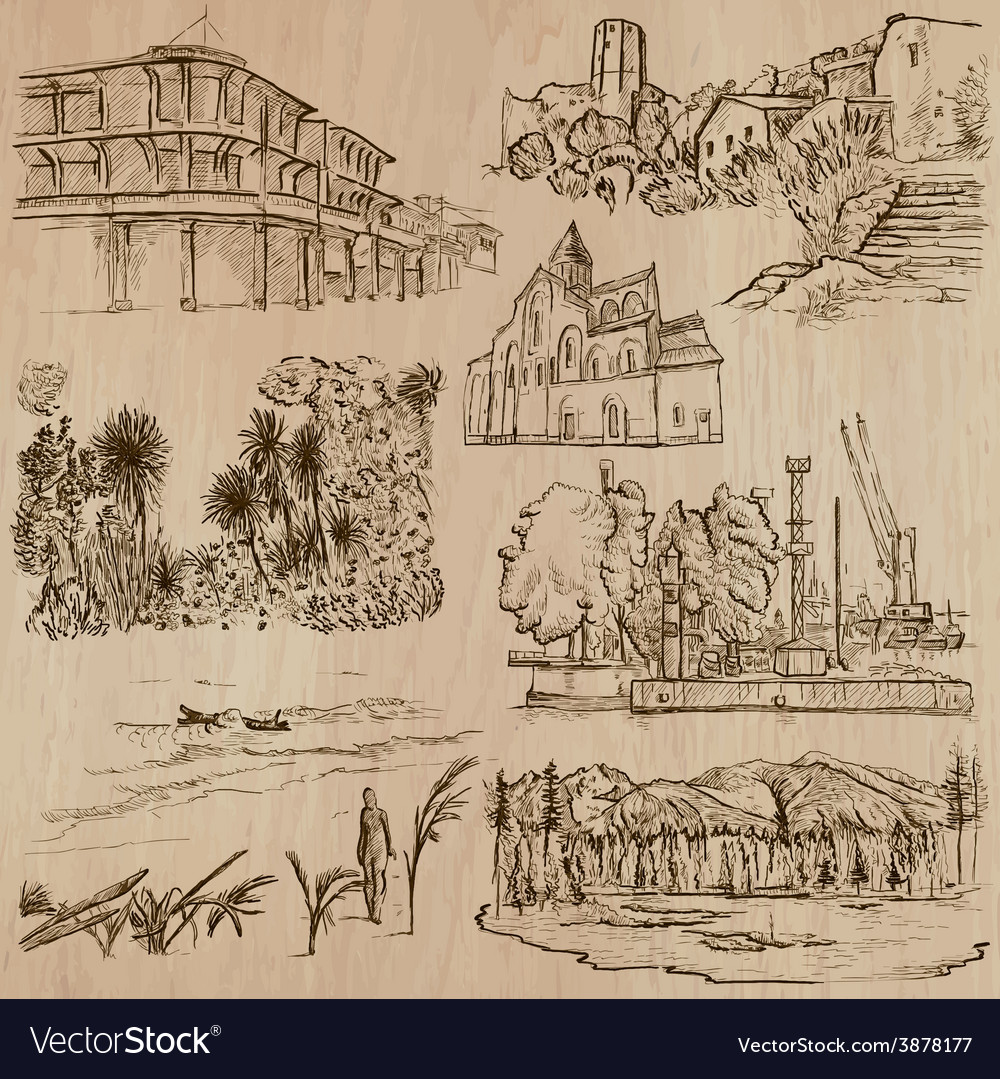 Famous places and architecture - hand drawn vector   Price: 1 Credit (USD $1)