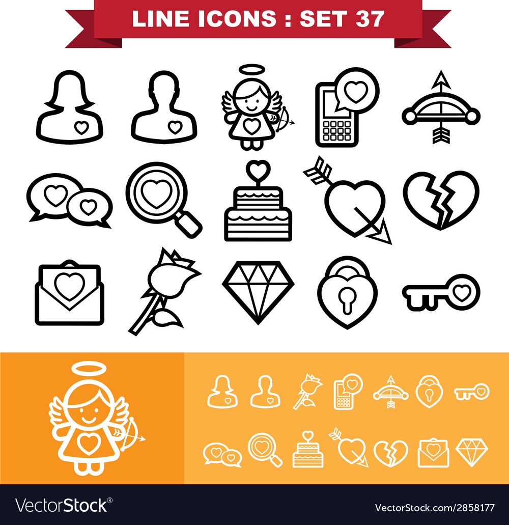 Love lne icons set 37 vector | Price: 1 Credit (USD $1)